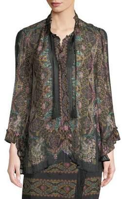 Etro Tie-Neck Wide-Sleeve Damask-Print Silk Blouse