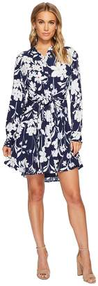 1 STATE 1.STATE Long Sleeve Tie Front Button Down Shirtdress Women's Dress