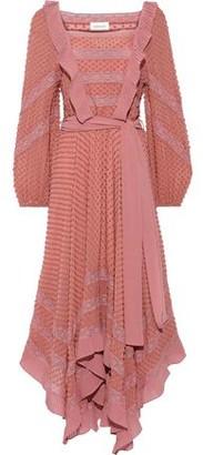 Zimmermann Unbridled Hanky Lace-trimmed Fil Coupe Silk-chiffon Midi Dress