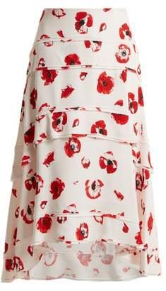 Proenza Schouler Poppy Print Tiered Crepe Skirt - Womens - Cream Print