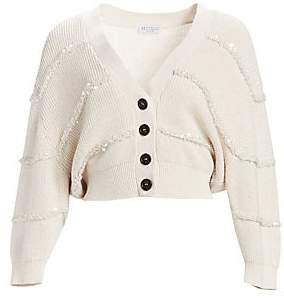 Brunello Cucinelli Women's Paillette Stripe Cotton Cropped Cardigan