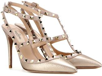 985b2ee1b1 Valentino Rockstud metallic leather pumps