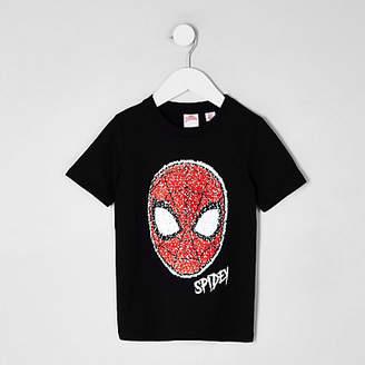 River Island Mini boys black Spider-man reverse T-shirt