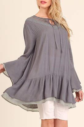 Umgee USA Slate-Grey Layered-Bell-Sleeve Tunic