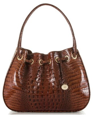 Brahmin Amy Embossed Leather Drawstring Bucket Bag - Brown $325 thestylecure.com