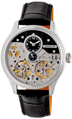 Heritor Automatic Winthrop Silver & Black Leather Watches 41mm