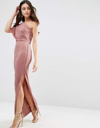 ASOS One Shoulder Scuba Deep Fold Maxi Dress With Exposed Zip $98 thestylecure.com