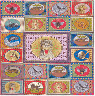 Gucci Tiger Cards print silk scarf
