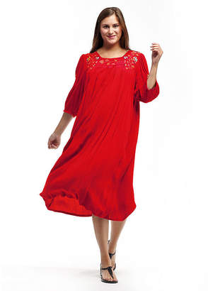 La Cera Women'S 3/4 Sleeve Rayon Dress With Embroidered Sleeve & Yoke - Plus