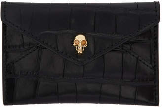 Alexander McQueen Black Croc Skull Envelope Card Holder