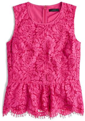 J. Crew Factory Lace Peplum Top (Petite) $88 thestylecure.com