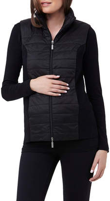 Puffer Vest With Knit Sides