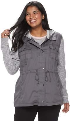 ab8ebfccc55f8 Mudd Juniors  Plus Size Knit Sleeve Utility Jacket