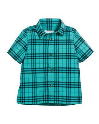 Burberry Sammi Dyed Check Short-Sleeve Collared Shirt, Size 3-14