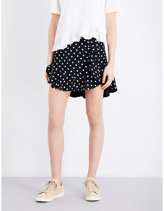Sandro Polka-dot twill mini skirt $163 thestylecure.com