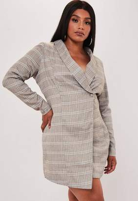 Missguided Plus Size Brown Heritage Plaid Blazer Dress