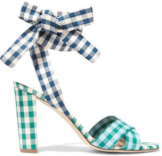 J.Crew - Charlotte Gingham Poplin Sandals - Blue $240 thestylecure.com