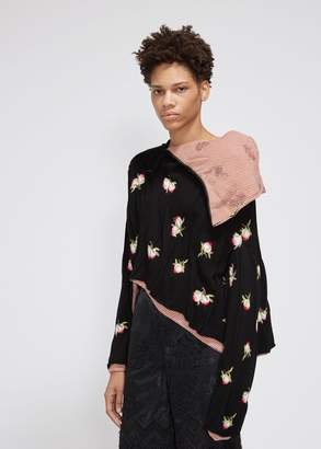 MS MIN Peach Jacquard Turtle Neck Knit Top