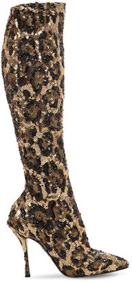 Dolce & Gabbana 105mm Leopard Sequined Knee High Boots