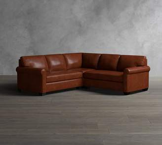 Pottery Barn York Roll Arm Leather 3-Piece L-Shaped Sectional with Corner