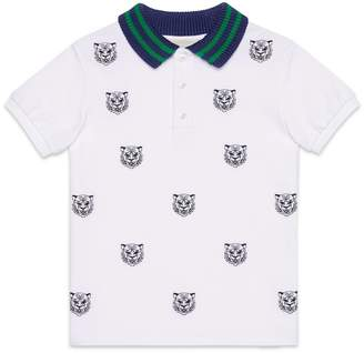 Gucci Children's polo with tiger heads embroidery