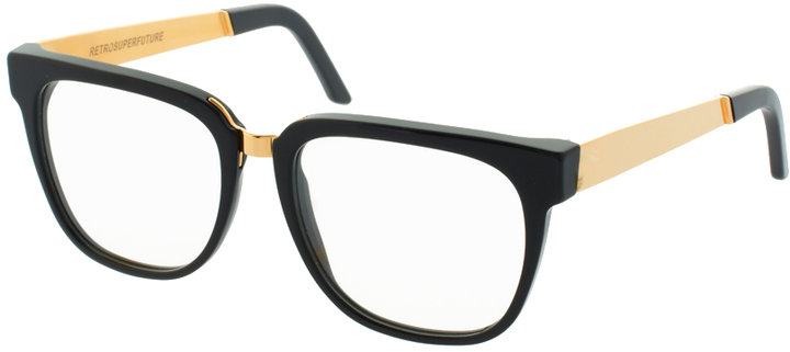 Super By RetroSuperFuture Black & Gold Clear Lens Glasses