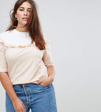 Asos T-Shirt with Contrast Ruffle Stripe