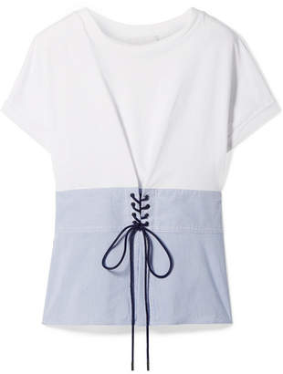 3.1 Phillip Lim Lace-up Cotton-jersey And Striped Poplin Top - White