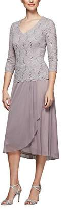 Alex Evenings Women's Tea Length Dress with Sleeves (Petite and Regular Sizes)