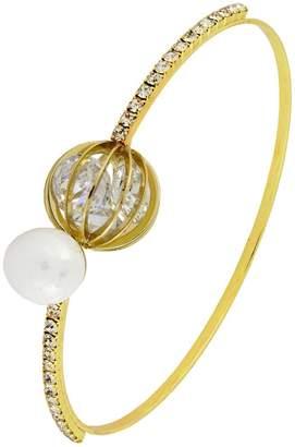 Crystal Pearl Zivom Delicate Openable 18K Gold Brass Bangle Kada Bracelet for Women Girls