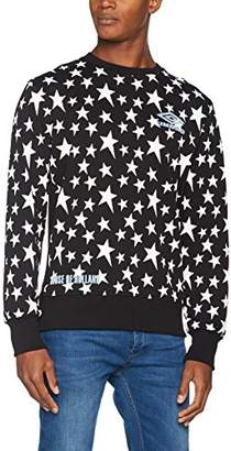 House of Holland Men's Umbro Star Side Rib Sweatshirt Casual Shirt, (Black/White), Small
