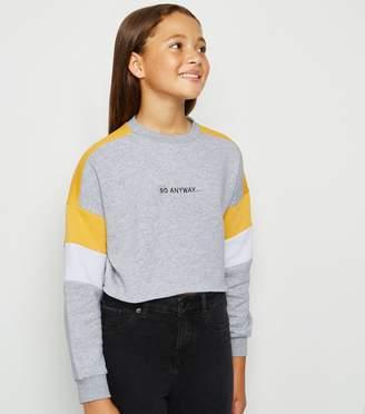 New Look Girls Colour Block Slogan Sweatshirt