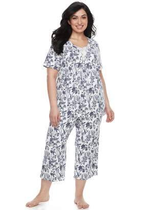 Croft & Barrow Plus Size Lace Trim Tee & Capri Pajama Set