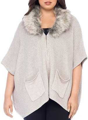 Bobeau B Collection by Curvy Carlie Faux-Fur Collar Cardigan