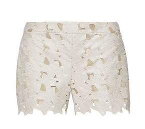 Alice + Olivia Amaris Laser-Cut Embroidered Faux Leather Shorts
