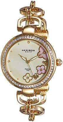 Akribos XXIV Women's AK874YG Round Cream Mother of Pearl Dial Three Hand Quartz Gold Tone Strap Watch