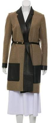 Celine Leather-Trimmed Wool Coat