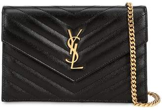 Saint Laurent Small Quilted Monogram Leather Bag