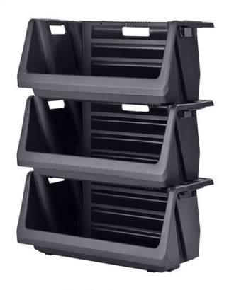 Muscle Rack Stackable Storage Bin in Black (3-Pack)