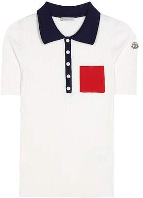 Moncler Rib-knitted silk polo top