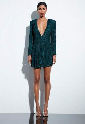 Missguided Teal Drape Sequin Dress