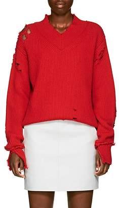 Helmut Lang Women's Distressed Wool V-Neck Sweater