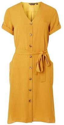Dorothy Perkins Womens Yellow Tortoiseshell Button Shift Dress