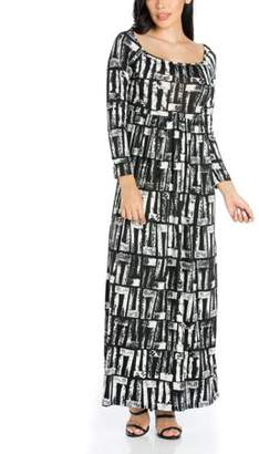fc07ce823573 24/7 Comfort Apparel 24seven Comfort Apparel Alluring Black and White Long  Sleeve Maxi Dress