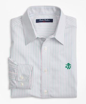 Brooks Brothers Boys Non-Iron Supima Cotton Oxford Alternating Stripe Sport Shirt