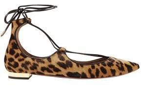 Aquazzura Christy Leopard-Print Calf Hair Point-Toe Flats
