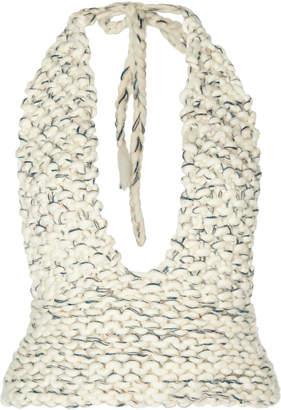 Jacquemus Plunging V-Neck Textured Halter Top