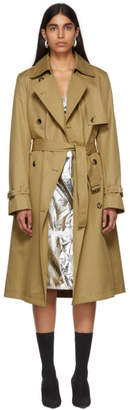 Paco Rabanne Tan Double-Breasted Trench Coat