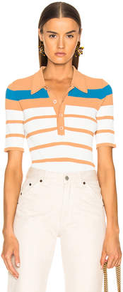Sies Marjan Rory Collared Short Sleeve Knit Top in Blood Orange, Blue Iris & Salt Stripe | FWRD