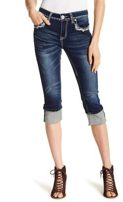 Grace In LA Denim Embroidered Straight Leg Capri Jeans